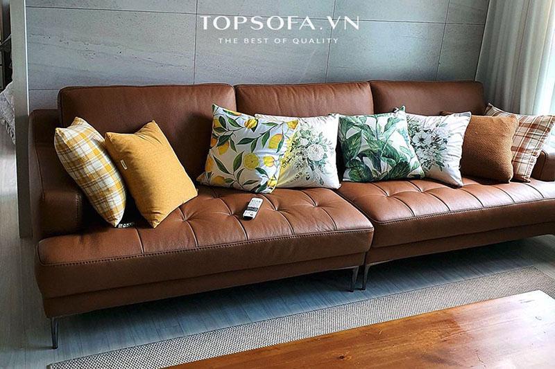 Hình ảnh thực tế sofa văng da TS321 bàn giao tại nhà khách hàng
