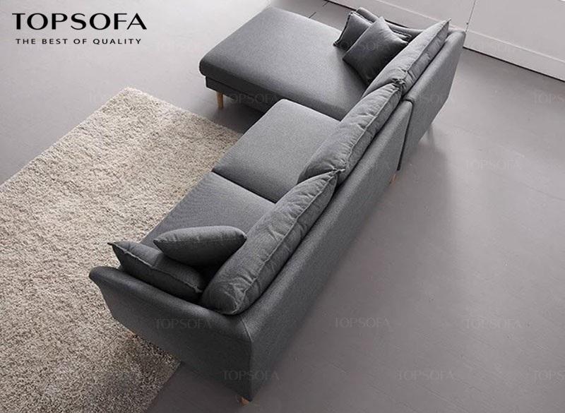 sofa góc nỉ TS210 màu ghi trung tính