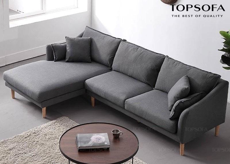 Sofa góc nỉ ts210 thiết kế đơn giản hiện đại