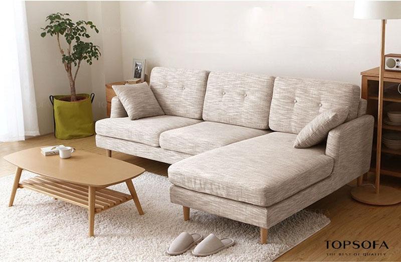 sofa góc nỉ TS211 màu xám sang trọng