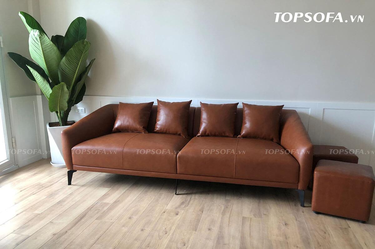Sofa da màu nâu TS303 có kiểu dáng đơn giản với màu nâu đất đem đến không gian ấm cúng cho căn phòng