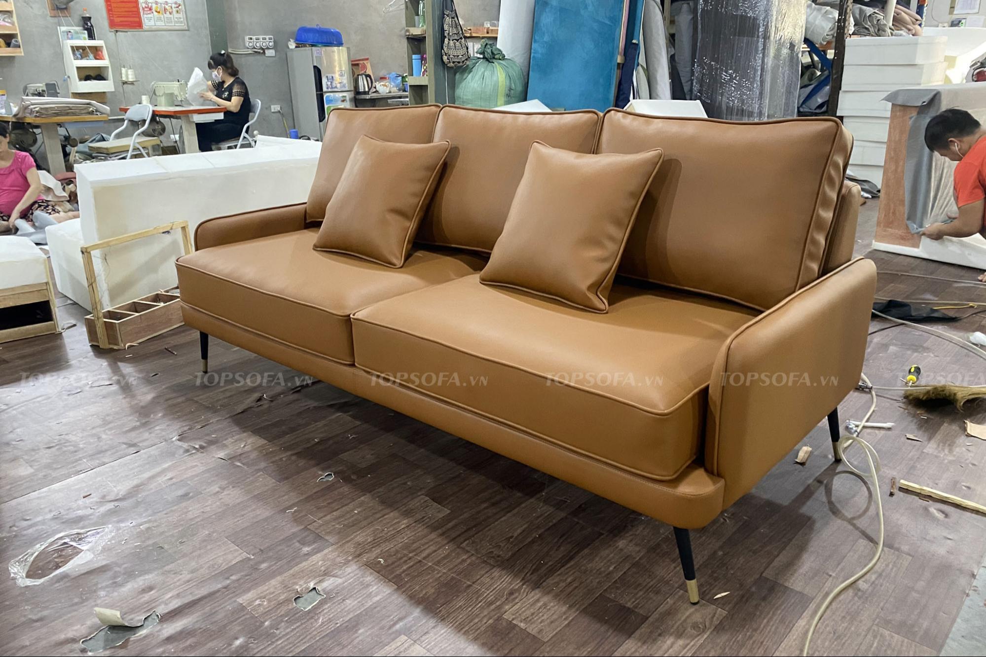 Sofa văng da TS305 góc nghiêng
