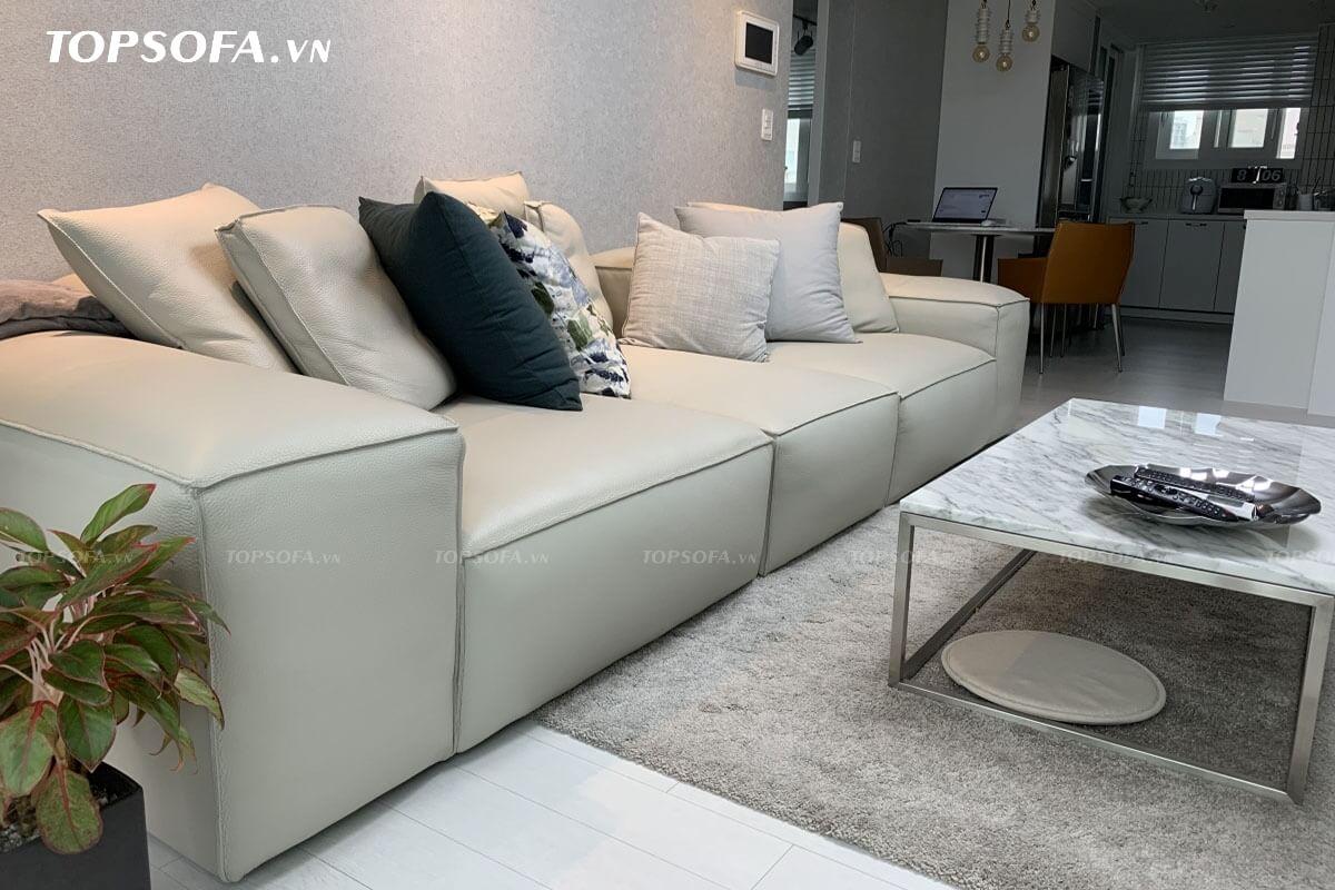 Sofa văng da TS 306 thiết kế không chân