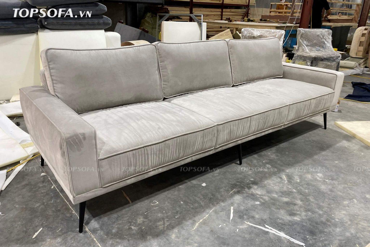 Sofa văng TS329 có thiết kế linh hoạt cùng tông màu kem tinh tế pha với họa tiết trơn đơn giản đem đến không gian trang trí mới mẻ, hiện đại