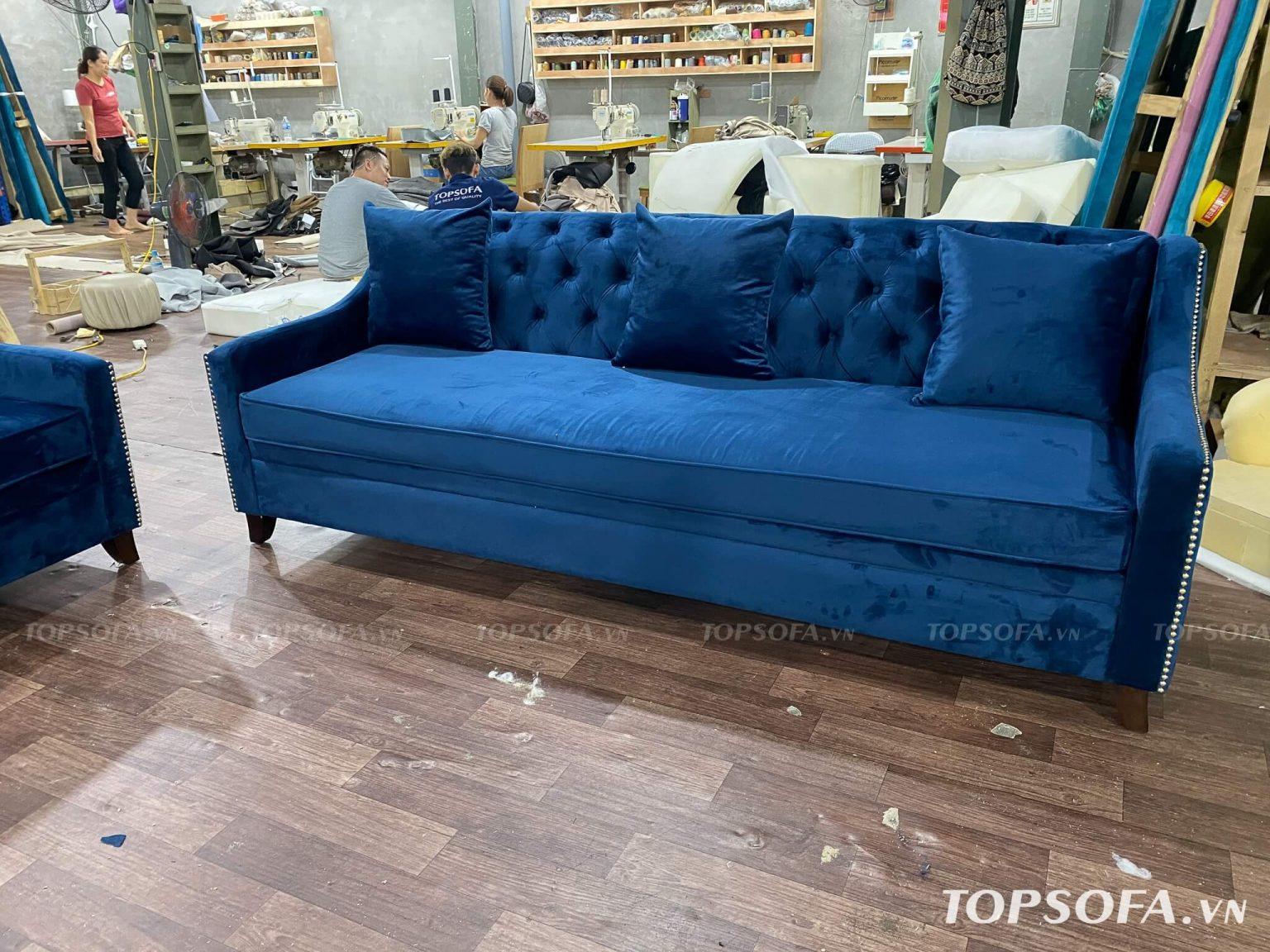 Sofa văng nỉ nhung TS325 3 chỗ