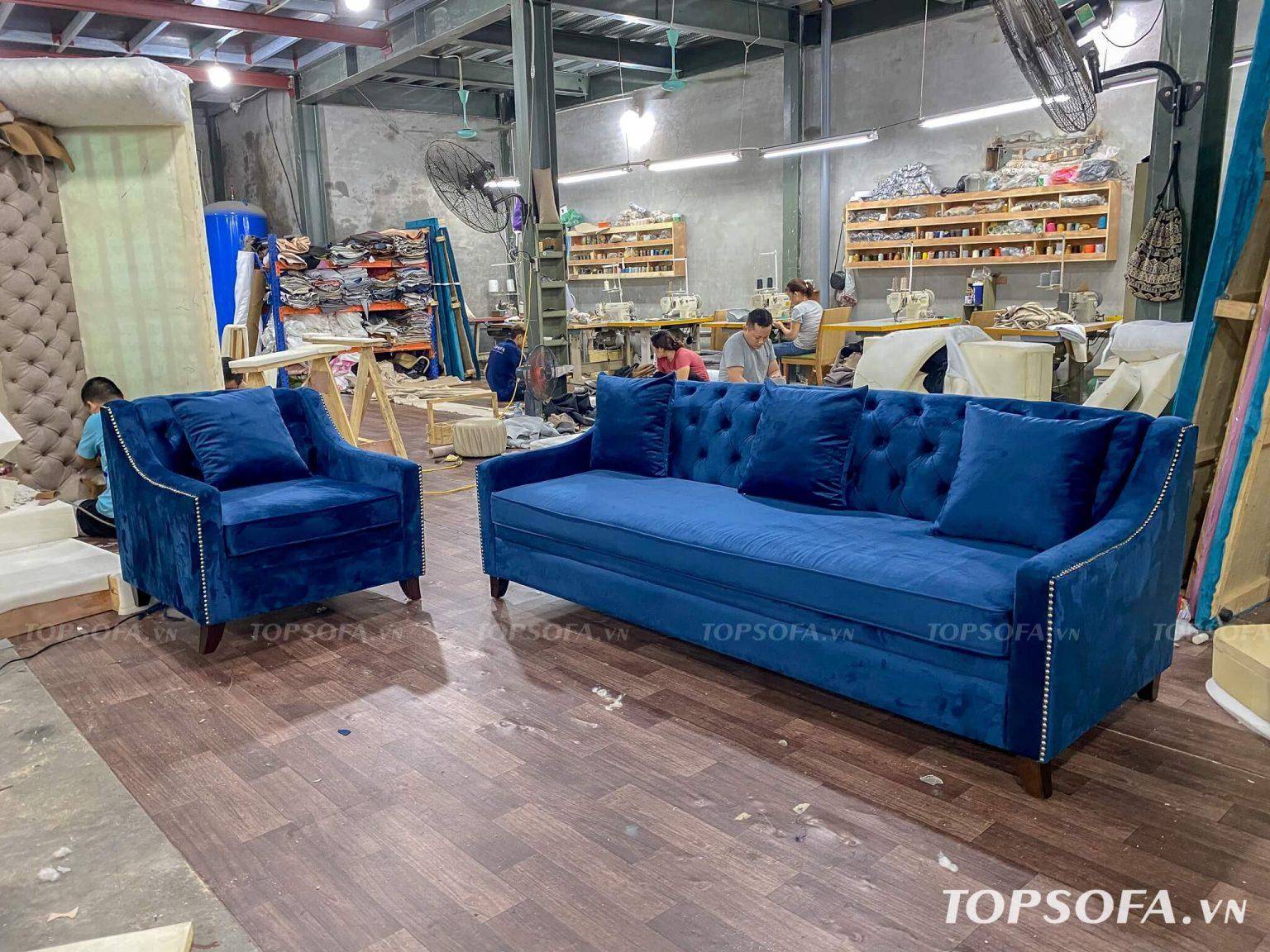 Sofa văng nỉ nhung TS325 phù hợp với mọi không gian