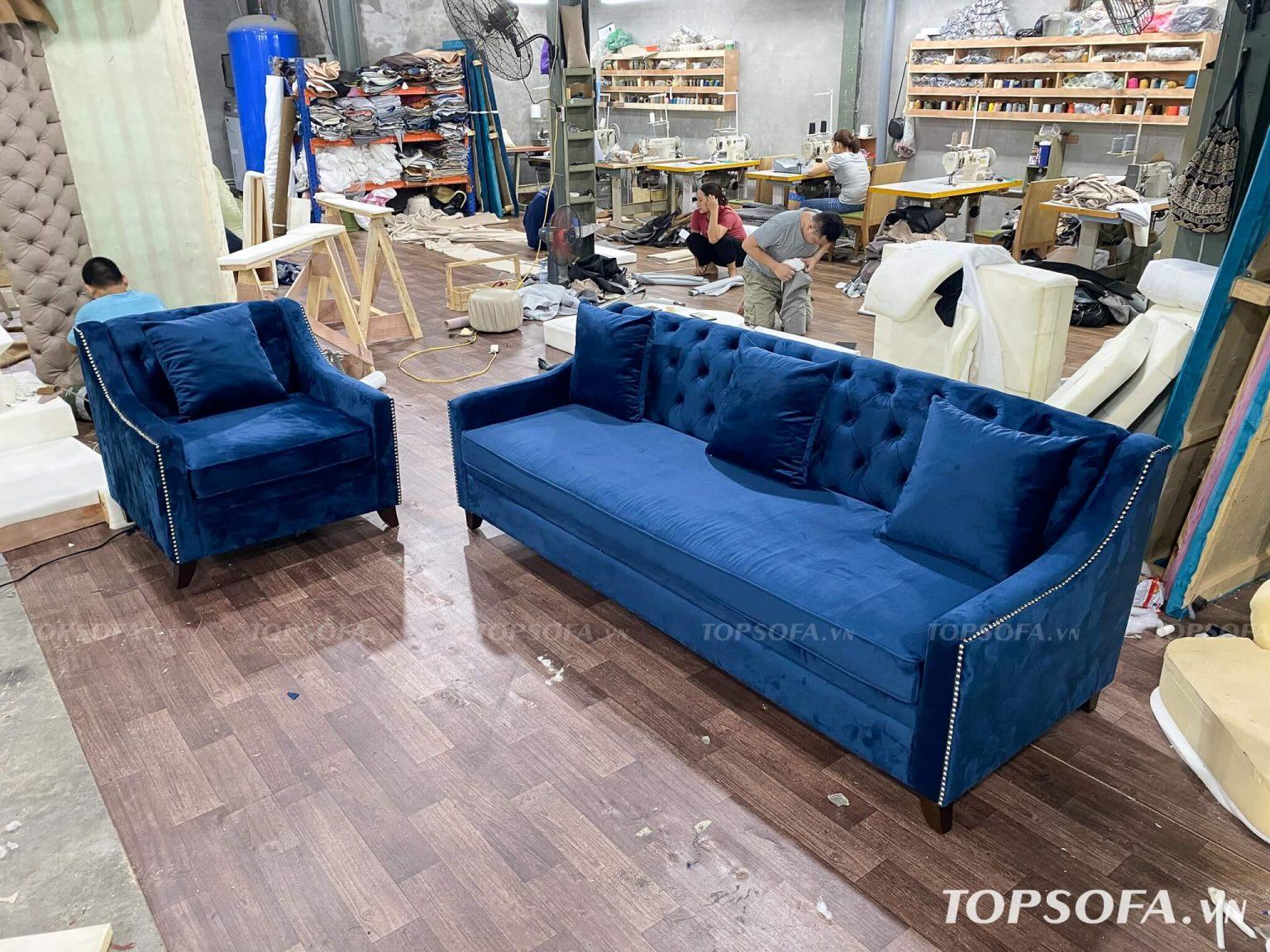 Sofa văng nỉ nhung TS325 thiết kế chân choãi