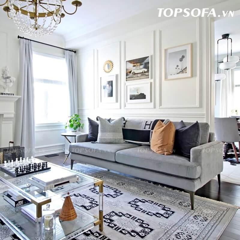 Sofa văng nỉ hiện đại cho phòng khách thường đề cao thiết kế, màu sắc hài hòa tổng thể