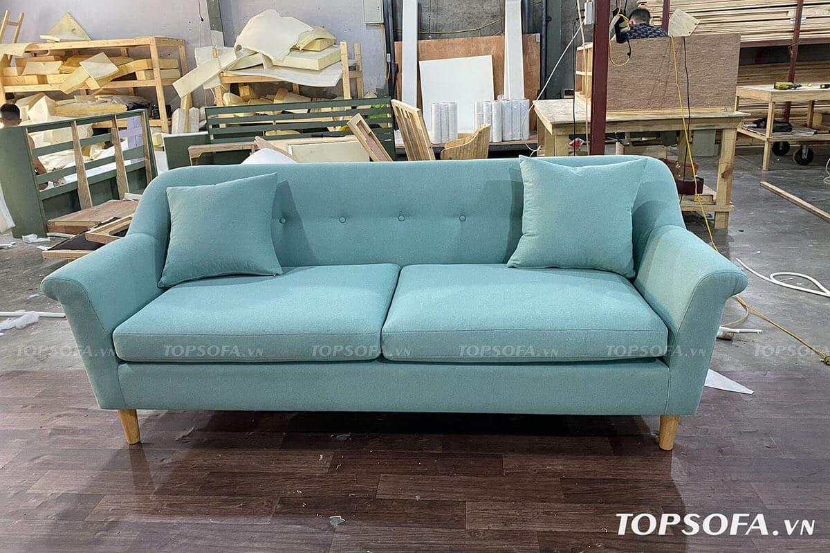 sofa văng xanh ngọc tại xưởng