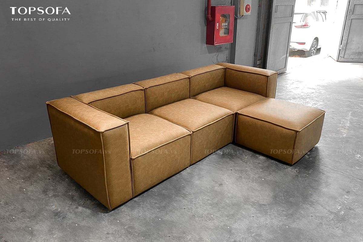 Mẫu sofa góc mini có thiết kế vuông vắn, gọn gàng cùng thiết kế không chân mang đến sự thoải mái, thư giãn cho người sử dụng