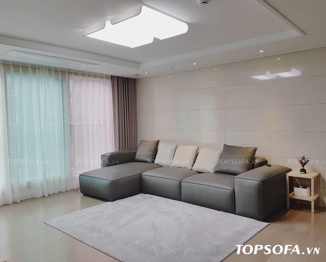 Sofa da màu xám ghi TS206 có thiết kế trang nhã, thanh lịch, nhỏ nhắn phù hợp với không gian nhỏ, vừa