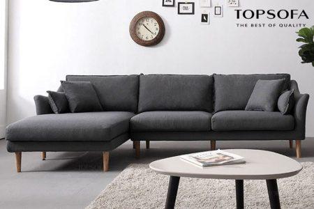 Thiết kế chân gỗ cao giúp ngăn cách bụi dễ dàng cộng với màu xám đậm che vết bẩn cực tốt, chất vải nỉ dễ vệ sinh là lý do làm cho mẫu sofa TS210 luôn trông như mới