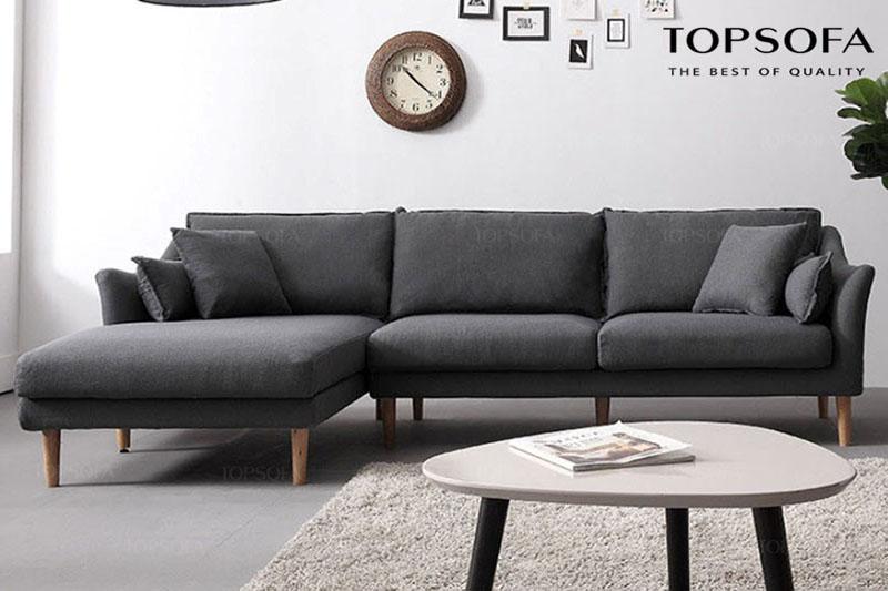 Thiết kế chữ L cùng những đường bo góc khỏe khoắn giúp mẫu sofa góc nhỏ gọn TS210 dễ dàng che đi khuyết điểm ở vị trí góc của căn phòng