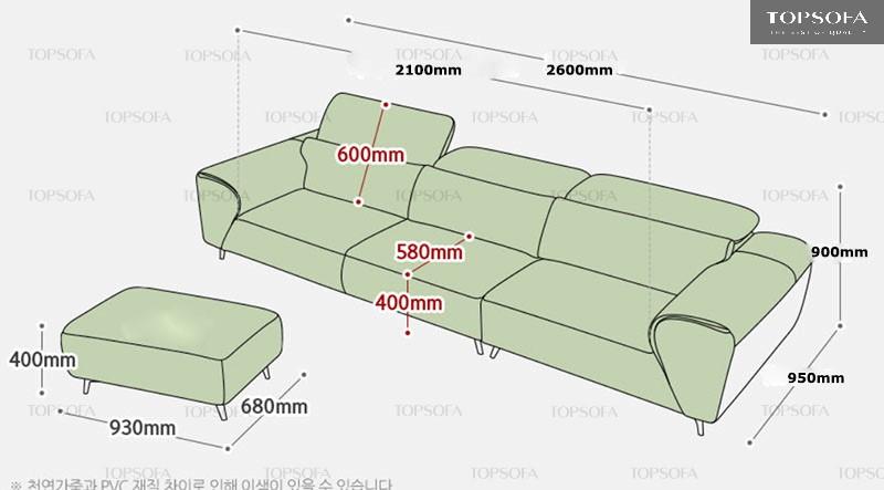 Kích thước chi tiết của sofa văng da TS307