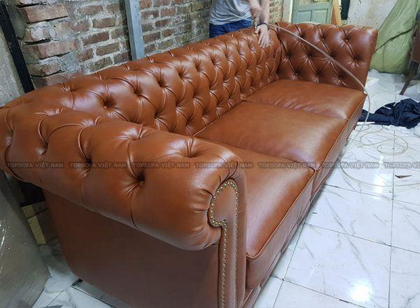 Sofa văng tân cổ điển chất liệu da cao cấp