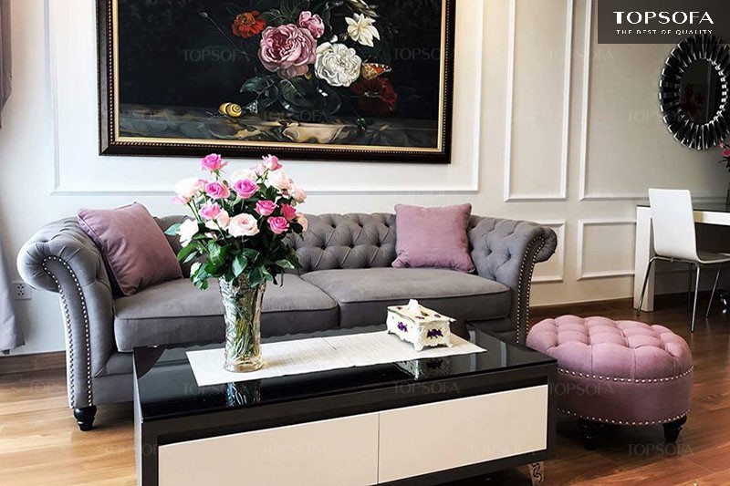 sofa văng tân cổ điển TS504 màu xám trang nhã