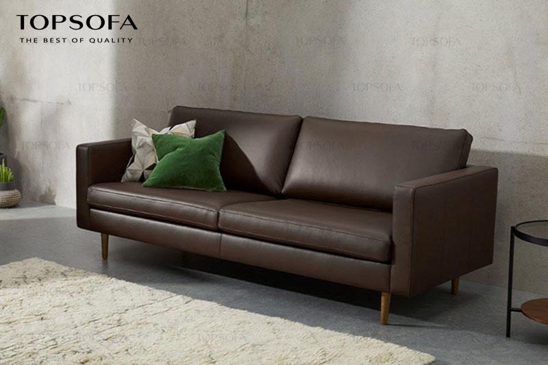 Sofa văng hiện đại được làm từ da công nghiệp Hàn Quốc sở hữu thiết kế đơn giản cùng màu nâu trầm ấm