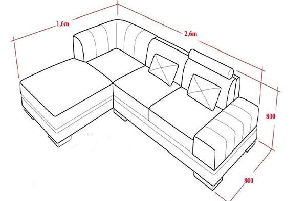 cách tính mét dài ghế sofa góc