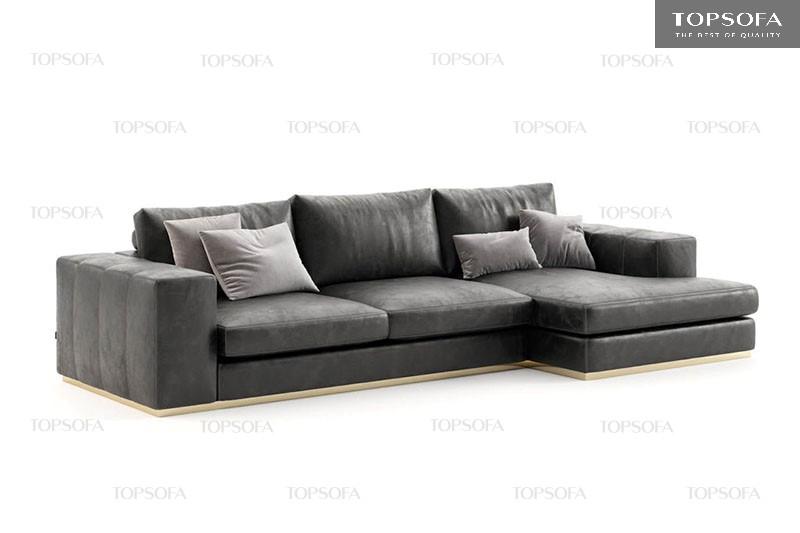 Thiết kế vuông vắn, sát sàn, đệm mút Inoac Nhật Bản, bọc da công nghiệp của mẫu sofa góc phải này giúp đem lại cảm giác chắc chắn, êm ái cho người ngồi