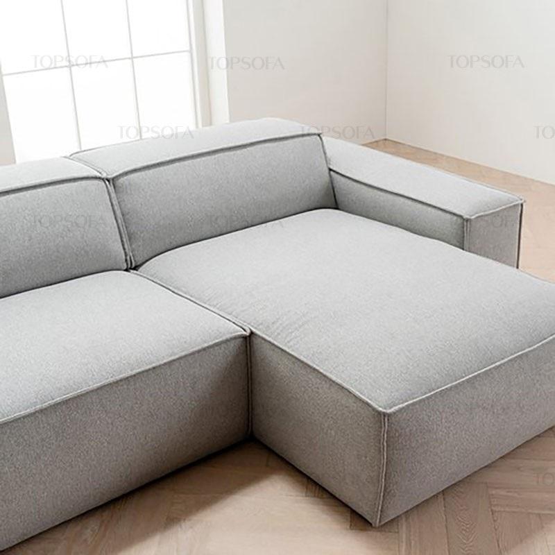 sofa góc nỉ TS214 màu ghi sáng