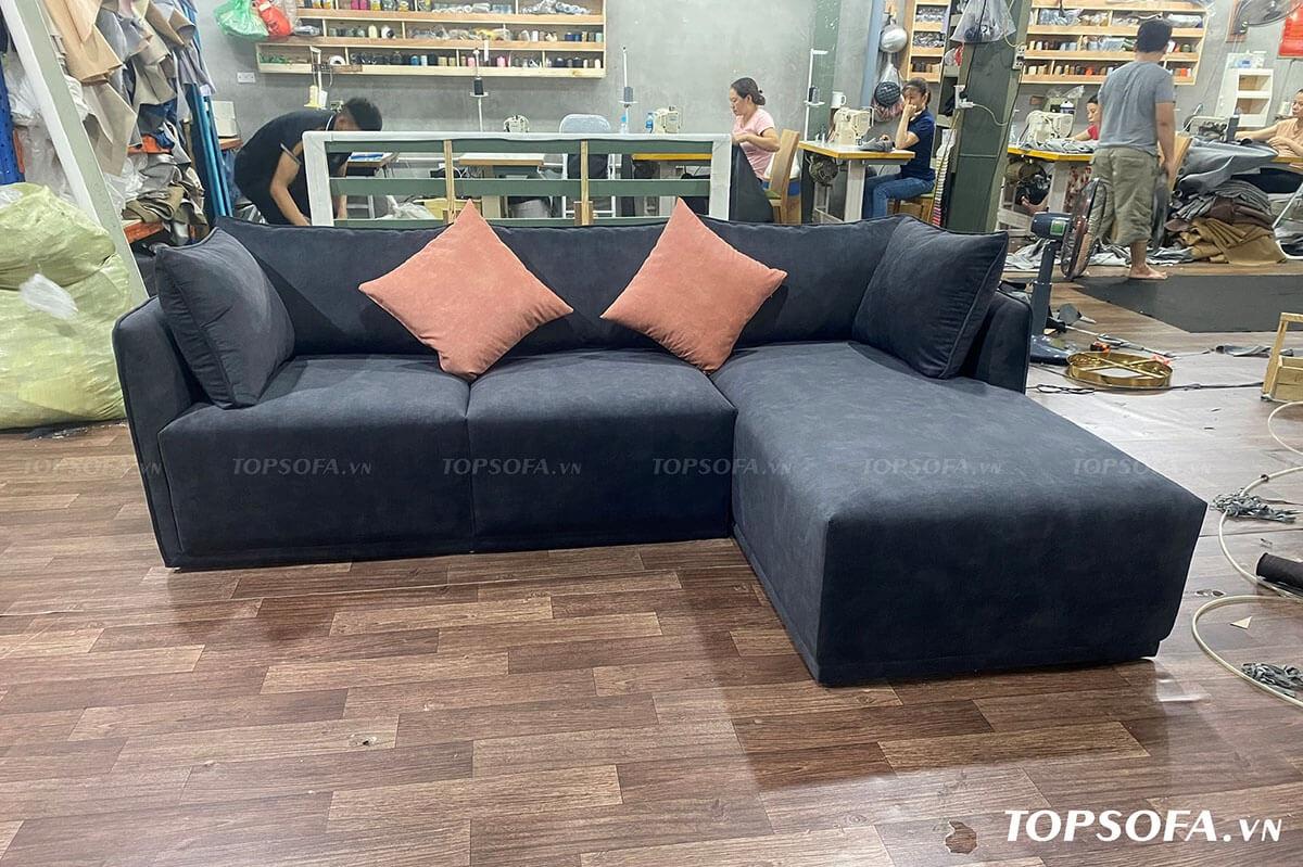 Sofa góc nỉ TS217 chân bệt