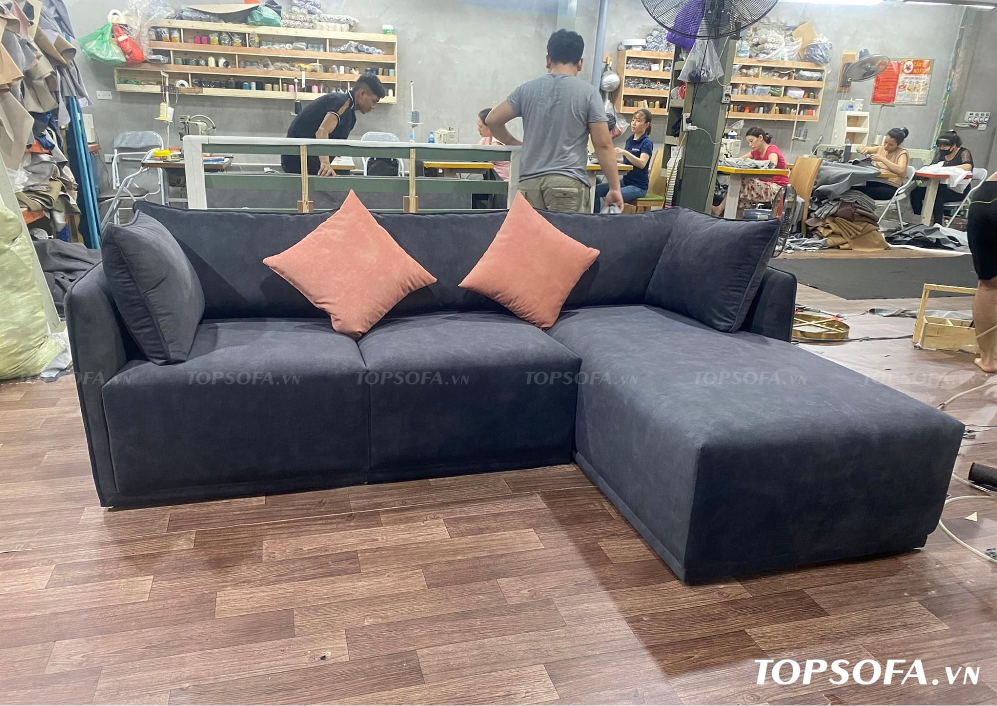 Sofa góc nỉ TS217 chất liệu vải nỉ Hàn Quốc