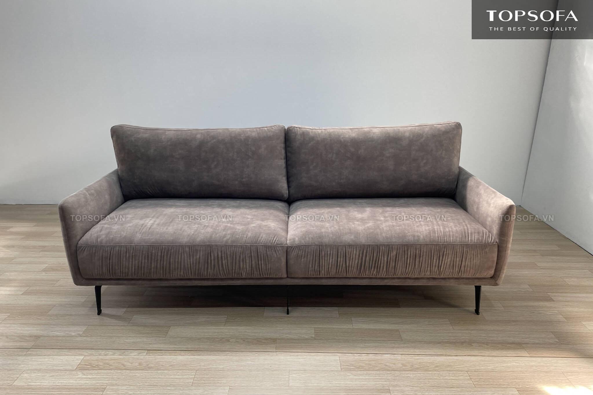Sofa văng nỉ TS327 có thiết kế nhỏ gọn cùng màu nâu xám hiện đại phù hợp với mọi không gian