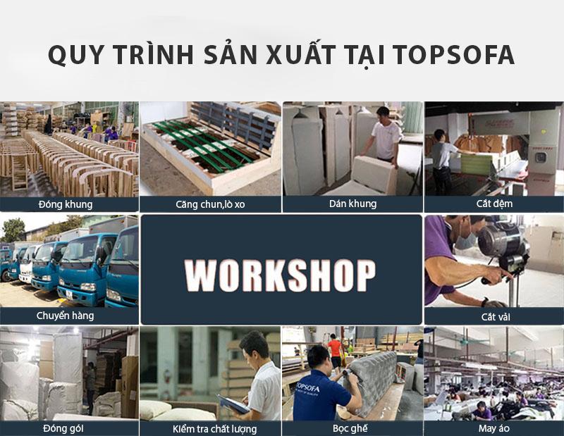 Topsofa có quy trình sản xuất sofa góc phòng khách chung cư chuyên nghiệp đảm bảo chất lượng và sự hài lòng của khách hàng