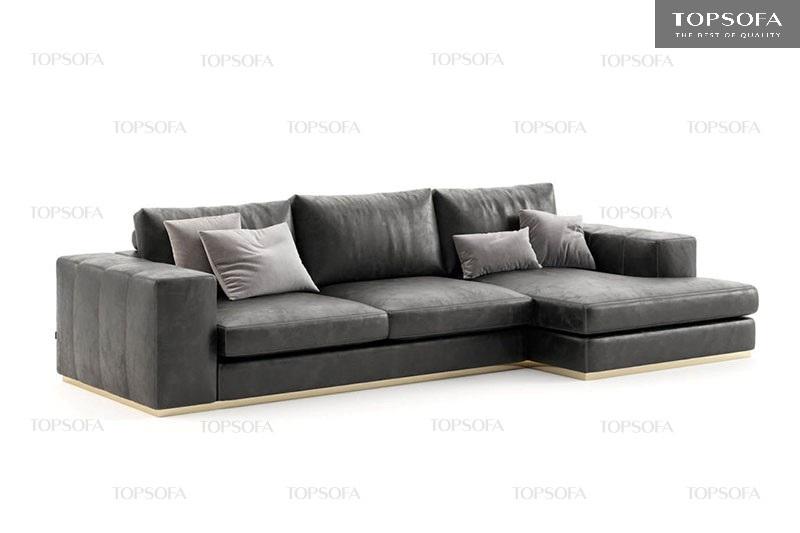 Sofa góc da TS 212 màu đen