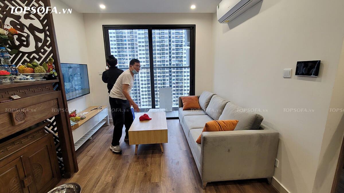 Sofa văng nỉ bàn giao tại chung cư Vinhomes Smart City