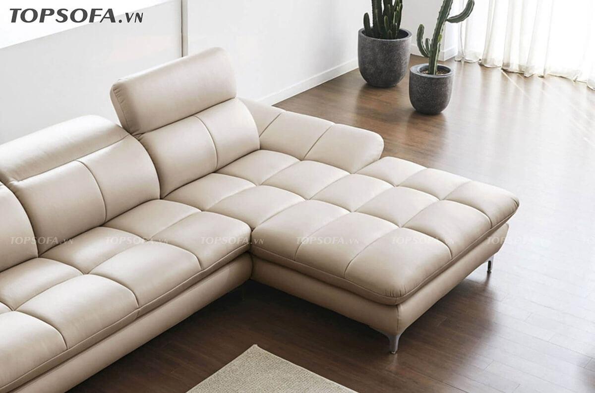 Sofa da TS224 màu kem sang trọng