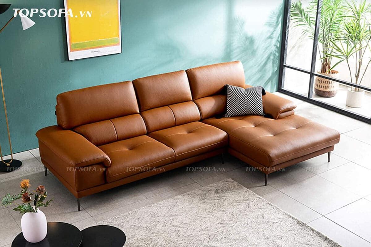 Phần lưng mẫu ghế sofa góc phải này thiết kế nhiều khoảng đệm, mỗi khoảng đệm uốn cong tạo chỗ tựa lưng vững chắc, êm ái cho người dùng