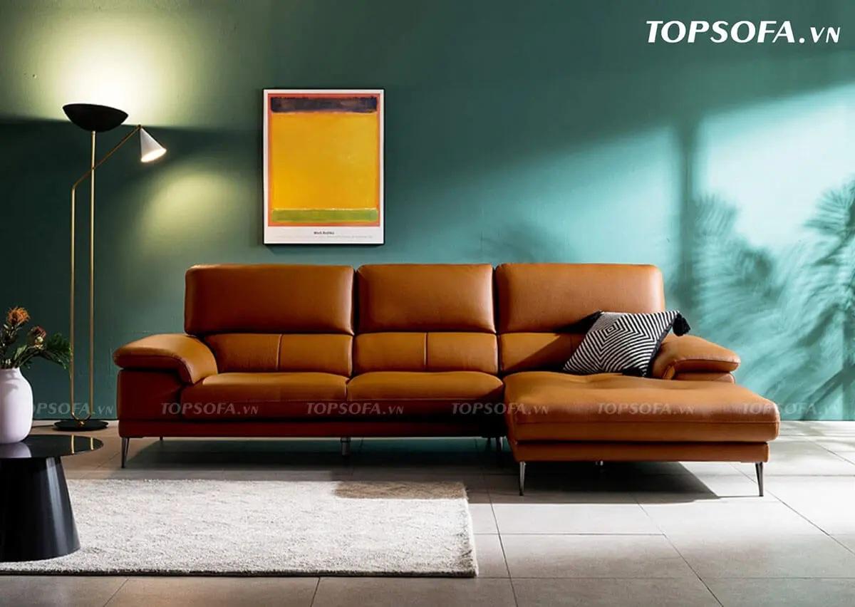 Sofa góc da TS223 thiết kế chân ghế inox bền đẹp