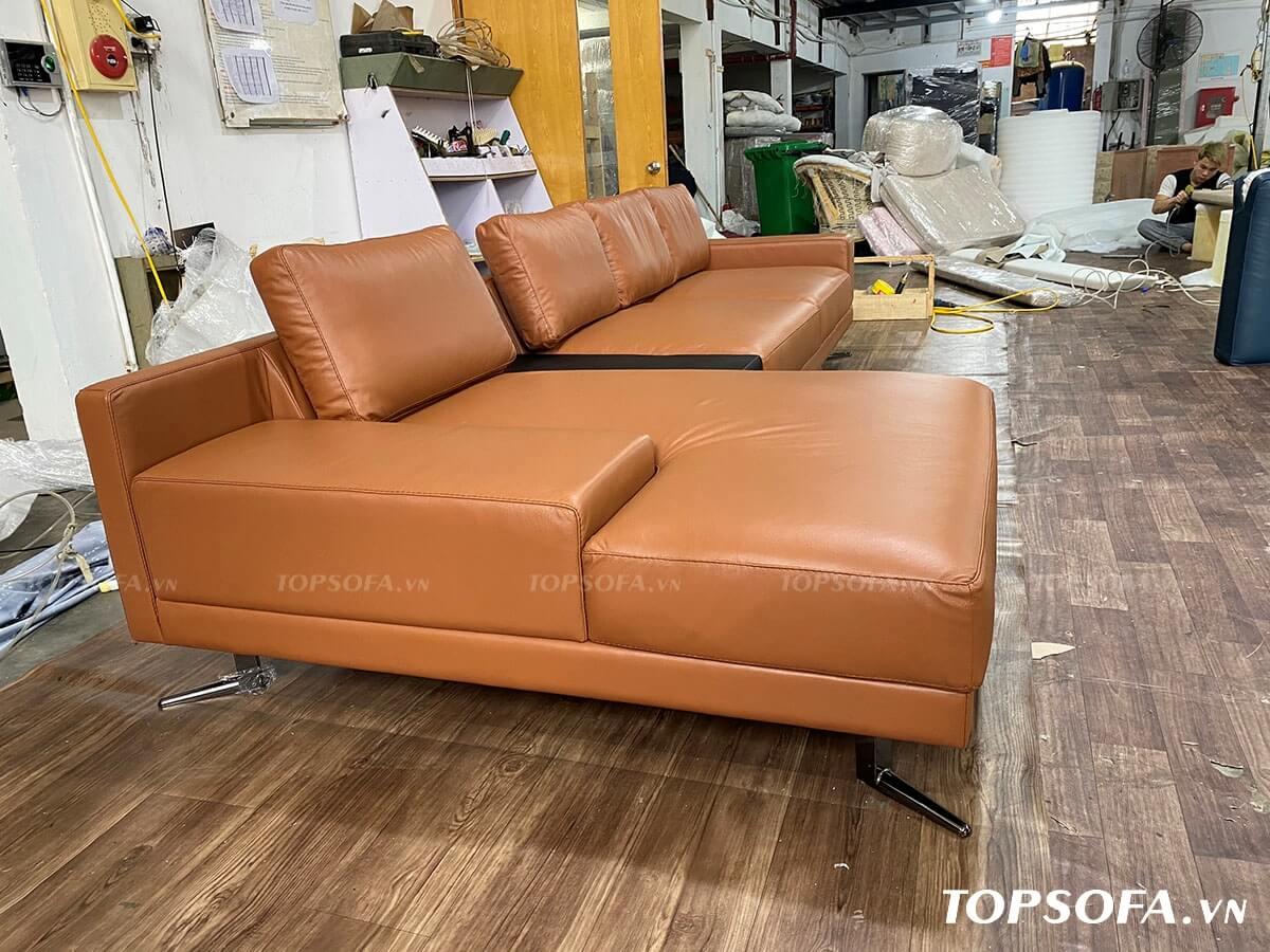 sofa góc da TS225 màu da bò
