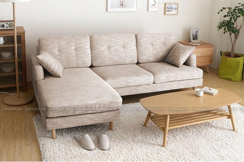 Kiểu dáng nhỏ xinh, đẹp mắt, thiết kế chữ L gọn gàng giúp mẫu sofa góc TS211 dễ dàng bày ở vị trí góc để tận dụng góc chết, che đi không gian không mấy vuông vắn