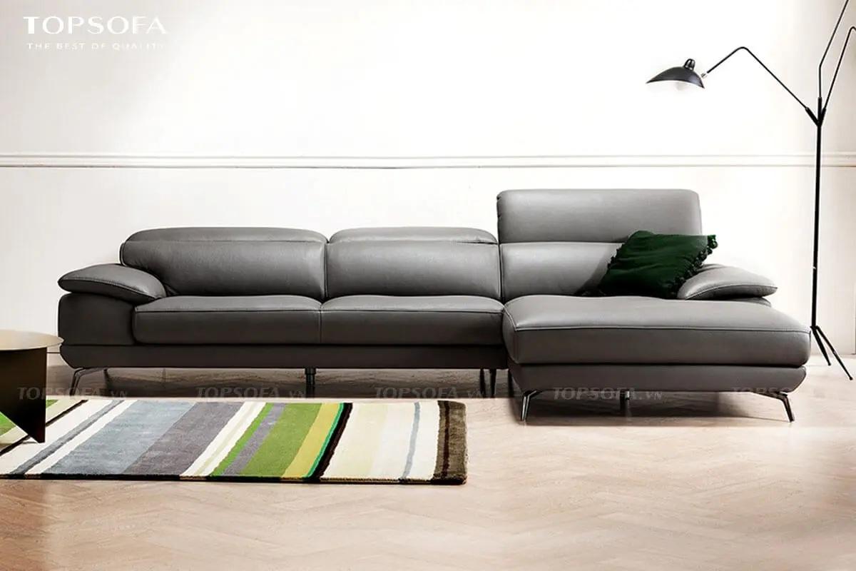 Sofa góc TS221 thiết kế chân inox trắng sáng