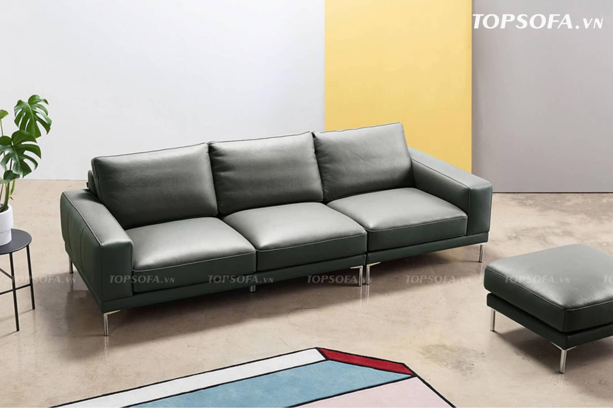 Sofa văng da TS334 màu ghi đen