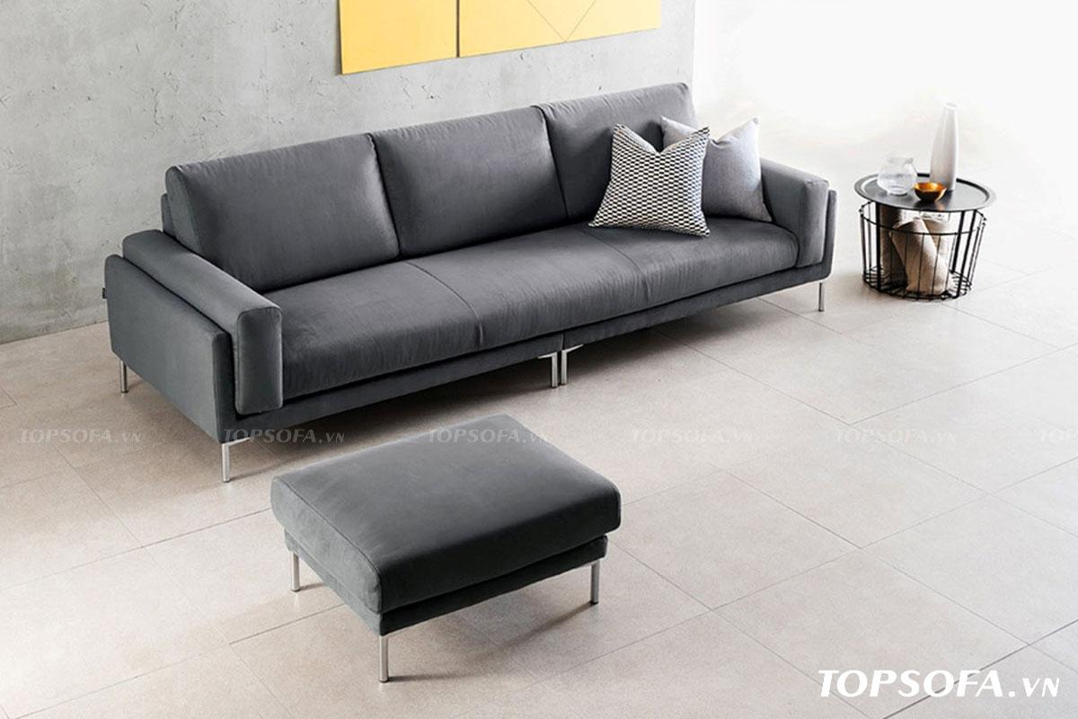 Sofa văng đơn được kết hợp với ghế đôn và bàn trà giúp không gian gia đình bạn thêm đầy đủ và hoàn thiện hơn.