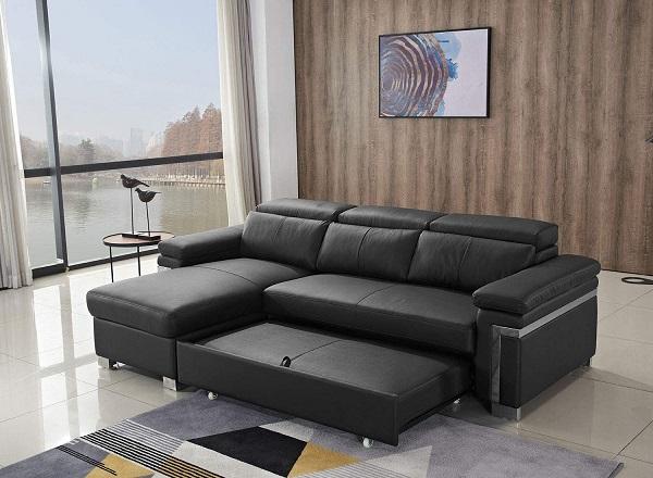 Ghế sofa góc chữ L với thiết kế độc đáo với phần ghế sofa di động có thể kéo rộng hay thu gọn dễ dàng tùy theo nhu cầu sử dụng. Phần chân ghế được làm từ inox bền chắc mang lại vẻ đẹp sang trọng cho sản phẩm.