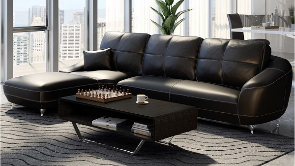 Mẫu sofa da màu đen hiện đại này có thiết kế đơn giản, bắt mắt mang đến vẻ đẹp thời thượng cho ngôi nhà của bạn.