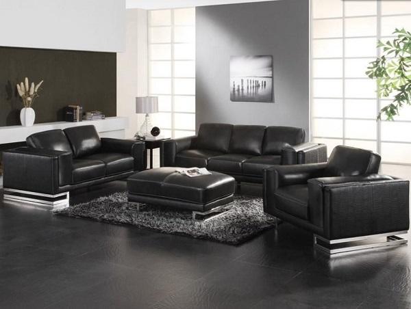 Được thiết kế đơn giản, bộ sofa da kiểu dáng hiện đại màu đen phù hợp với không gian phòng khách và phòng làm việc