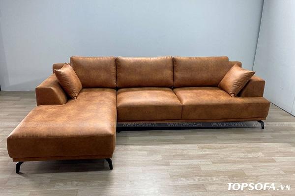 Chất liệu da công nghiệp mềm mại, đệm mút inoac Nhật Bản êm ái của ghế sofa góc vuông TS219 giúp cho người dùng cảm giác thoải mái khi ngồi. Cùng với đó là màu da nâu mang đến vẻ đẹp sang trọng, tự nhiên cho căn phòng