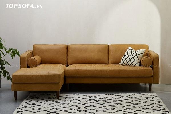 Hai chiếc gối hình trụ ở hai bên tay vịn vừa là một điểm tựa tay, tạo sự thoải mái cho người dùng vừa là điểm nhấn ấn tượng của mẫu sofa góc mini TS222