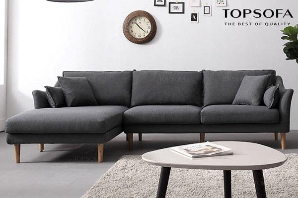 Sofa góc vuông chữ L tiện dụng, bọc vải nỉ màu xám đậm bền chắc giúp mang lại vẻ đẹp sang trọng và đem lại cảm giác ấm áp, thoải mái cho người sử dụng.
