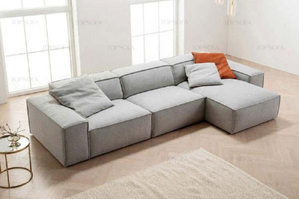 Bạn có thể khiến cho căn phòng trông sáng, thanh lịch hơn với sofa góc vuông chữ L tạo hình như các khối hộp xếp nối tiếp nhau như mẫu sofa TS214 này. Hơn nữa, phần đệm dày sẽ mang lại cảm giác rất êm ái cho người dùng, vừa nhìn đã thích