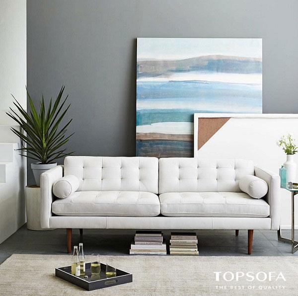 Sofa văng màu trắng 2 chỗ nhỏ gọn có thiết kế tinh tế, công phu.