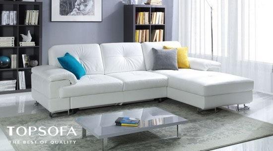 Sofa trắng kiểu chữ L mang vẻ đẹp sang trọng, đẳng cấp