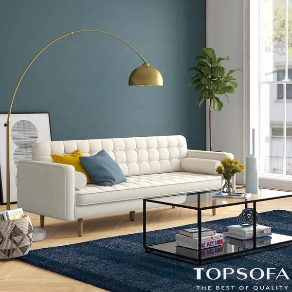 sofa văng dài màu trắng đơn giản mà tinh tế này phù hợp nhất với những không gian phòng khách nhỏ cho từ 2-3 người ngồi.
