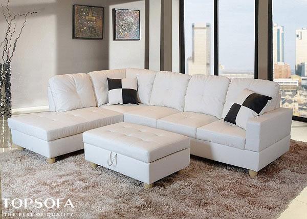 Sofa da góc chữ L trắng này phù hợp với những không gian phòng khách lớn