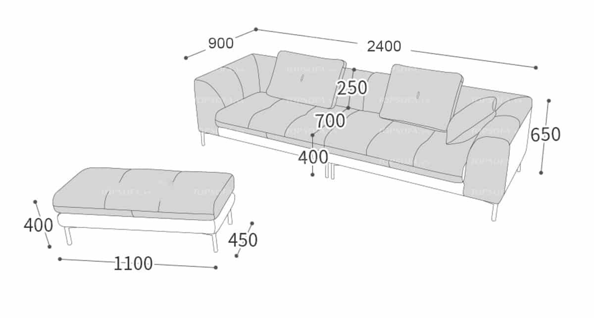 độ dài của các cạnh ghế sofa da